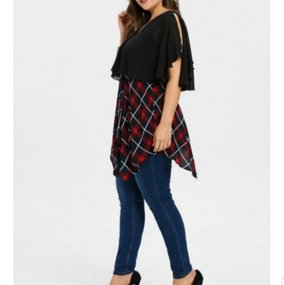 Tops - Assymetrical CapeTunic Punk Chic Plaid and Black